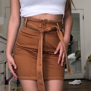 brown denim skirt